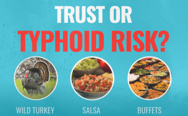 Can you identify if these foods are safe to eat or if they put you at risk for typhoid fever?